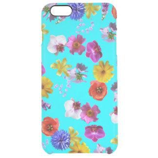 Caixa azul floral capa para iPhone 6 plus clear