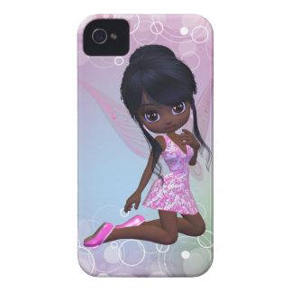 Caixa bonito de Blackberry da menina do afro-ameri iPhone 4 Capas