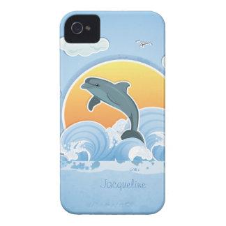 Caixa bonito de Blackberry do golfinho de Anventur Capas De iPhone 4 Case-Mate