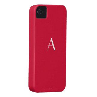 Caixa carmesim do monograma da cor vermelha capinhas iPhone 4