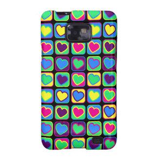Caixa colorida da galáxia de Samsung dos corações  Capas Samsung Galaxy S2
