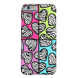 Caixa colorida do iPhone 6 dos corações da zebra Capa Barely There Para iPhone 6