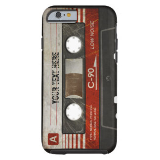 Caixa compacta retro riscada da cassete áudio capa tough para iPhone 6