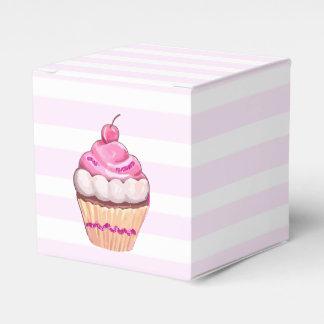 Caixa cor-de-rosa do cupcake da cereja caixinhas de lembrancinhas para casamentos