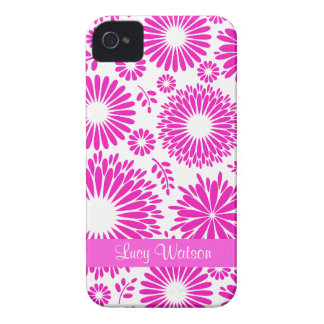 Caixa corajosa cor-de-rosa floral de Blackberry do Capa Para iPhone 4 Case-Mate