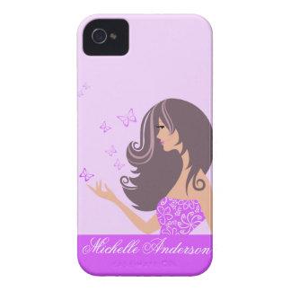Caixa corajosa de Blackberry das borboletas roxas Capa Para iPhone