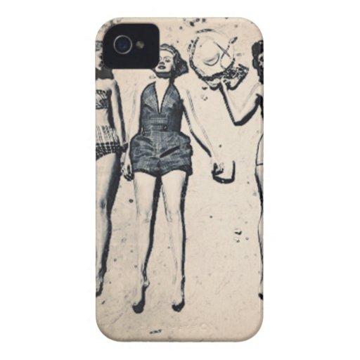 Caixa corajosa de Blackberry das meninas do vintag Capas De iPhone 4 Case-Mate