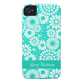 Caixa corajosa de Blackberry de turquesa floral do Capas Para iPhone 4 Case-Mate