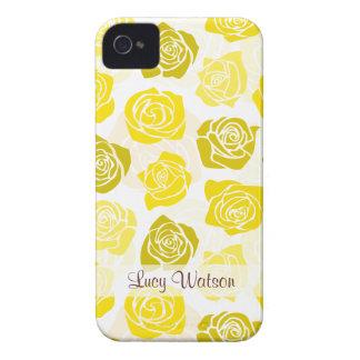 Caixa corajosa de Blackberry dos rosas amarelos do Capinha iPhone 4