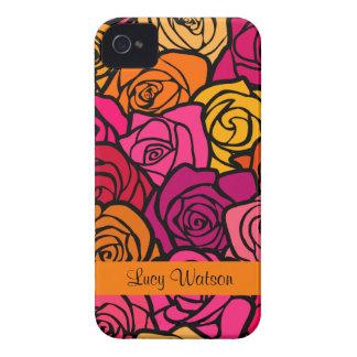 Caixa corajosa de Blackberry dos rosas coloridos Capas Para iPhone 4 Case-Mate