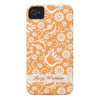 Caixa corajosa floral alaranjada de Blackberry do Capinha iPhone 4