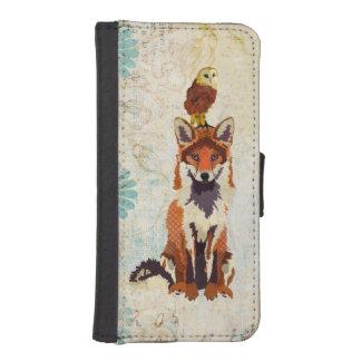 Caixa da carteira do Fox vermelho & da coruja