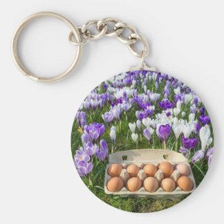 Caixa de ovo com os ovos da galinha nos açafrões chaveiro