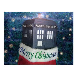 caixa de polícia azul do Feliz Natal na meia Cartão Postal