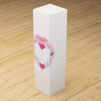 caixa de presente cor-de-rosa do vinho do coração caixas para garrafas de vinho