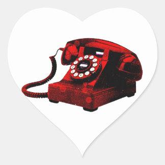 Caixa de telefone velha da mesa do pop art adesivo coração
