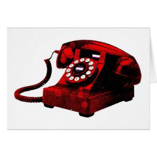 Caixa de telefone velha da mesa do pop art cartão comemorativo