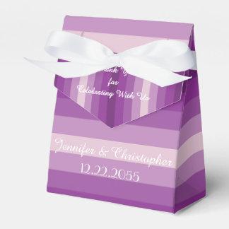 Caixa do favor do casamento, listras roxas caixinhas de lembrancinhas para casamentos
