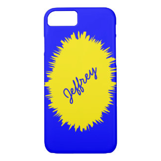caixa do iPhone 7, azul e amarelo, personalizada Capa iPhone 7