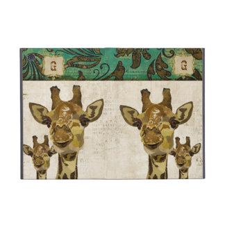 Caixa dourada do iPad do monograma dos girafas do  Capa iPad Mini