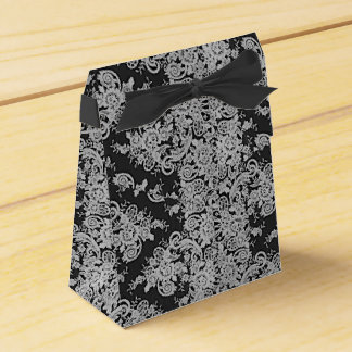 Caixa fina floral escura do favor do casamento da