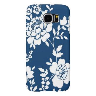 Caixa floral branca azul capas samsung galaxy s6