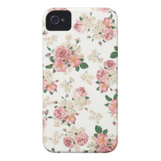 Caixa floral de Blackberry do vintage branco & Capinhas iPhone 4