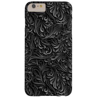Caixa floral preta abstrata da videira capa barely there para iPhone 6 plus
