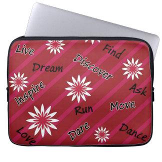 Caixa inspirador do laptop da flor cor-de-rosa e capas para computadores