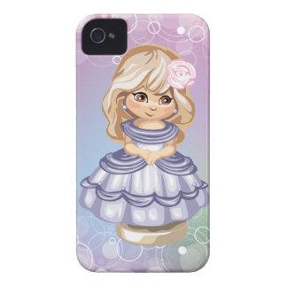 Caixa loura bonito de Blackberry da menina Capinhas iPhone 4
