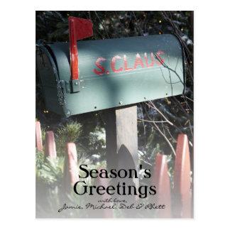 Caixa postal de Papai Noel Cartão Postal