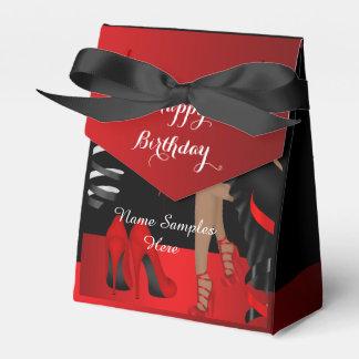 Caixa preta vermelha do favor dos saltos altos dos lembrancinhas para casamento