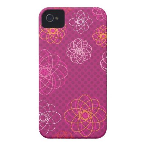 Caixa retro bonito da amora-preta do teste padrão  capa de iPhone 4 Case-Mate