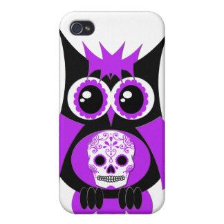 Caixa roxa do speck da coruja do crânio do açúcar iPhone 4 capas