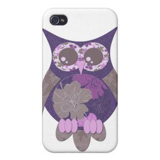 Caixa roxa do speck da coruja do hibiscus iPhone 4 capas
