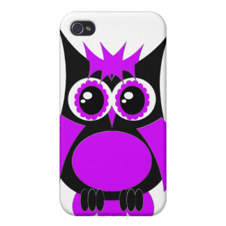 Caixa roxa do speck da coruja do punk iPhone 4 capas