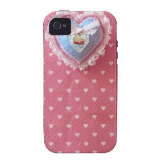 Caixa Sewn feminino bonito do coração de Kawaii Capinhas iPhone 4/4S