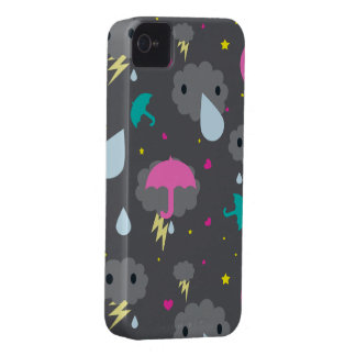 Caixa tormentoso de Blackberry das nuvens de Kawai iPhone 4 Capa