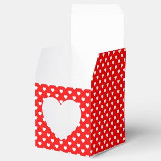 Caixa vermelha e branca do favor do frontão do caixinha de lembrancinhas para festas