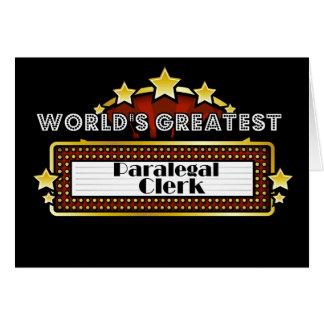 Caixeiro do Paralegal do mundo o grande Cartão