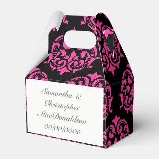 Caixinha casamento cor-de-rosa e preto da cor damasco