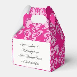 Caixinha Casamento tema damasco cor-de-rosa brilhante