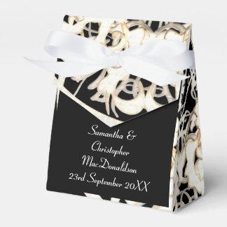 Caixinha Casamento tema damasco velho do laço preto e