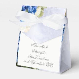 Caixinha De Lembrancinhas Posy do casamento do buquê da flor azul e branca