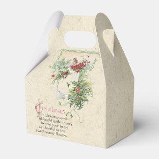 Caixinha Rosas da menina do cartão do natal vintage que