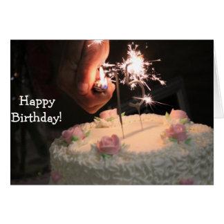 Cake and Sparklers - Birthday Card Cartão Comemorativo