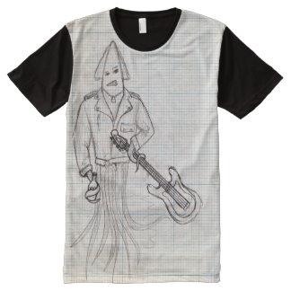 Calamar viscoso camisetas com impressão frontal completa