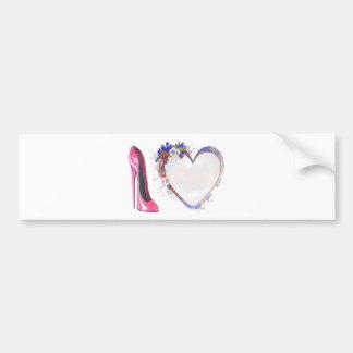 Calçados cor-de-rosa do estilete e coração floral adesivo para carro