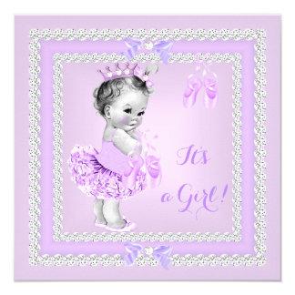 Calçados de balé bonito do Lilac da menina do chá Convite Quadrado 13.35 X 13.35cm