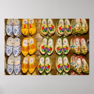 Calçados de madeira, loja holandesa da vila, poster